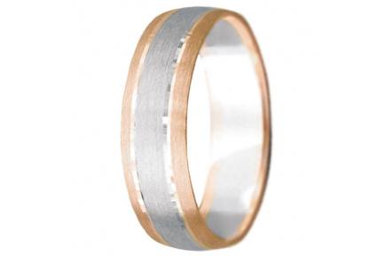 Snubní prsteny kolekce VIOLA_5, materiál červené, bílé zlato 585/1000, váha: u velikosti 54mm - 3.60