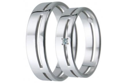 Snubní prsteny kolekce D14, materiál bílé zlato 585/1000, zirkon , váha: u velikosti 54mm - 3.50g