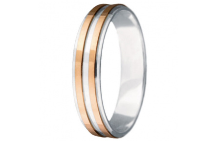 Snubní prsteny kolekce VIOLA_17, materiál červené, bílé zlato 585/1000, váha: u velikosti 54mm - 2.6