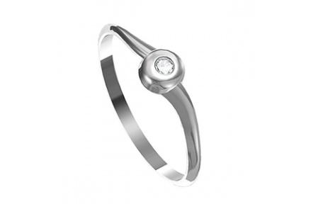 Zásnubní prsten s briliantem Leonka  015, materiál bílé zlato 585/1000, briliant SI1/G - 2.50mm, váh