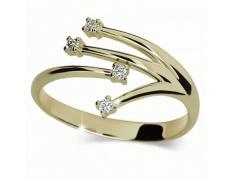 Briliantový prsten Danfil DF2063Z, materiál žluté zlato 585/1000, 4x briliant SI1/G = 0.070 ct, váha