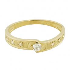 Zlatý Prsten Soliter 224 00392 00, materiál žluté zlato 585/1000, 7x briliant = 0.156 ct, váha: 1.90