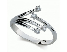 Briliantový prsten Danfil DF2063, materiál bílé zlato 585/1000, 4x briliant SI1/G = 0.070 ct, váha: