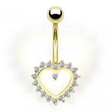 Zlatý piercing ZPP042, materiál 14-ti karátové žluté zlato, zirkon, váha: 1.29g
