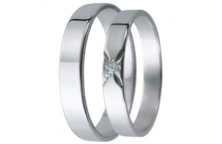 Snubní prsteny kolekce D25, materiál bílé zlato 585/1000, zirkon , váha: u velikosti 54mm - 2.40g