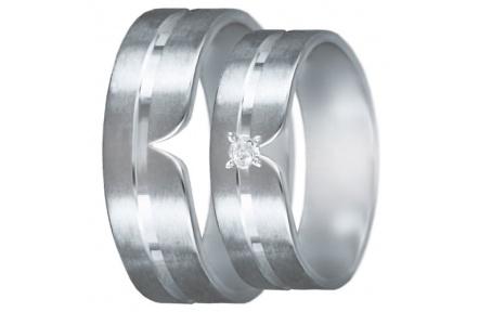 Snubní prsteny kolekce U2, materiál bílé zlato 585/1000, zirkon , váha: u velikosti 54mm - 4.30g