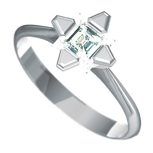 Zásnubní prsten Dianka 816, materiál bílé zlato 585/1000, roháček 5x5mm, váha: u velikosti 54mm - 2.