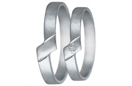 Snubní prsteny kolekce U5, materiál bílé zlato 585/1000, zirkon , váha: u velikosti 54mm - 2.40g