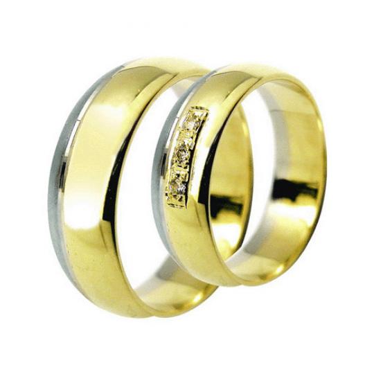 Snubní prsteny Lucie Gold Charlotte S-180, materiál bílé, žluté zlato 585/1000, zirkon, váha: průměr