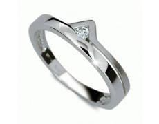 Briliantový prsten Danfil DF1565, materiál bílé zlato 585/1000, 1x briliant SI1/G = 0.050 ct, váha: