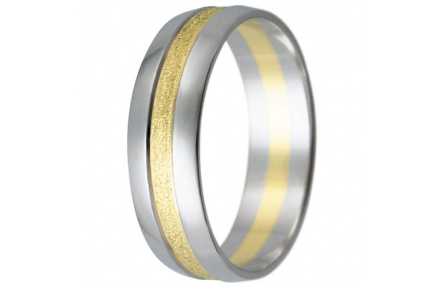 Snubní prsteny kolekce HARMONY16, materiál bílé, žluté zlato 585/1000, váha: u velikosti 54mm - 4.00