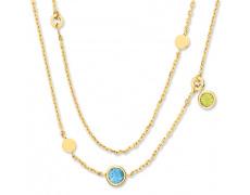 Zlatý náhrdelník Cacharel XC526JV, materiál žluté zlato 585/1000, ametyst, topaz, peridot, váha: 6.9