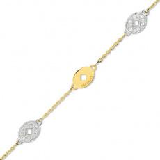 Zlatý náramek Cacharel XG601XB3, materiál žluté a bílé zlato 585/1000, diamant-0.16 ct, váha: 5.10g