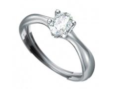 Zásnubní prsten  s briliantem Dianka 808, materiál bílé zlato 585/1000, briliant SI1/G 6x4mm, váha: