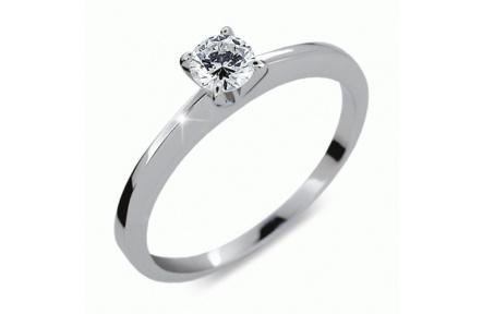 Briliantový prsten Danfil DF1232, materiál bílé zlato 585/1000, 1x briliant SI1/G = 0.256 ct, váha: