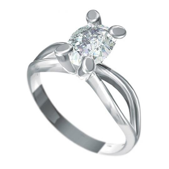 Zásnubní prsten s briliantem Dianka 819, materiál bílé zlato 585/1000, briliant SI1/G 8x6mm, váha: u