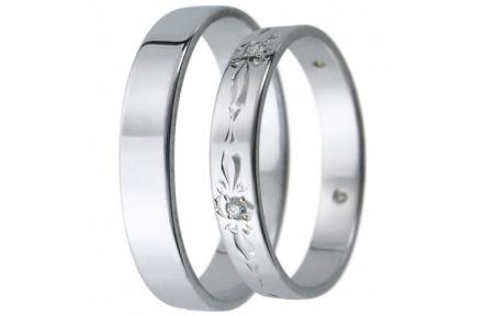 Snubní prsteny kolekce D21, materiál bílé zlato 585/1000, zirkon , váha: u velikosti 54mm - 3.00g