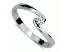Briliantový prsten Danfil DF1934, materiál bílé zlato 585/1000, 1x briliant SI1/G = 0.095 ct, váha: