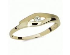 Briliantový prsten Danfil DF1745Z, materiál žluté zlato 585/1000, 1x briliant SI1/G = 0.050 ct, váha