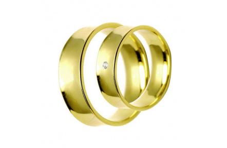 Snubní prsteny Lucie Gold Charlotte S-225, materiál žluté zlato 585/1000, zirkon, váha: průměrná 9.5