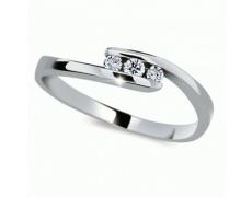 Briliantový prsten Danfil DF2072, materiál bílé zlato 585/1000, 3x briliant SI1/G = 0.102 ct, váha: