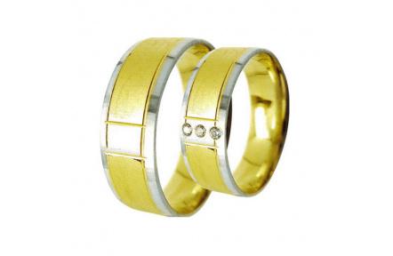 Snubní prsteny Lucie Gold Charlotte S-205, materiál bílé, žluté zlato 585/1000, zirkon, váha: průměr