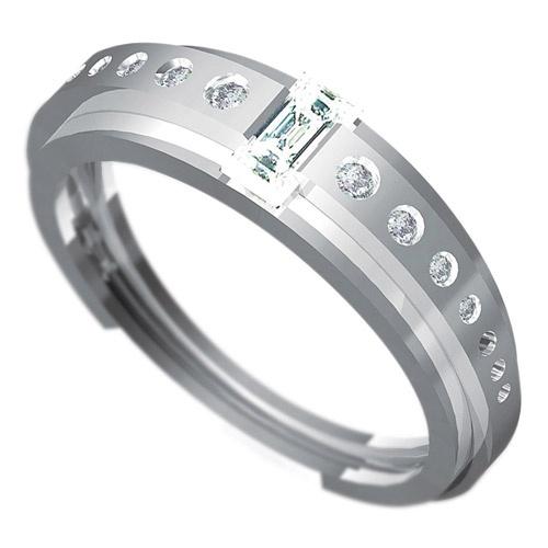 Zásnubní prsten Dianka 810, materiál bílé zlato 585/1000, 1 x zirkon 5x2.5mm, 7 x zirkon 2.00 - 1.25