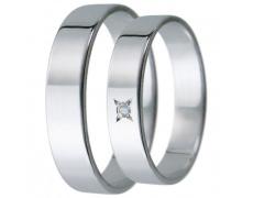 Snubní prsteny kolekce D5, materiál bílé zlato 585/1000, zirkon , váha: u velikosti 54mm - 3.20g