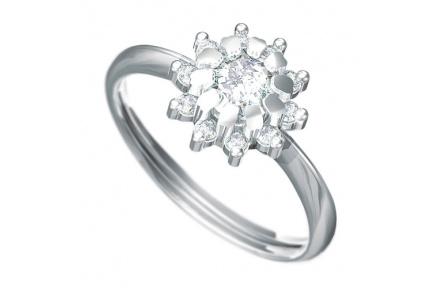 Zásnubní prsten Dianka 807, materiál bílé zlato 585/1000, 1 x zirkon 5.0mm, 10 x zirkon 1.75mm, váha