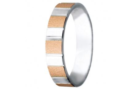 Snubní prsteny kolekce VIOLA_8, materiál červené, bílé zlato 585/1000, váha: u velikosti 54mm - 4.50