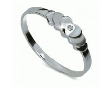 Briliantový prsten Danfil DF1876, materiál bílé zlato 585/1000, 1x briliant SI1/G = 0.011 ct, váha:
