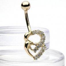 Zlatý piercing ZPP011, materiál 14-ti karátové žluté zlato, zirkon, váha: 2.00g