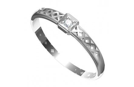 Zásnubní prsten s briliantem Leonka  002, materiál bílé zlato 585/1000, briliant SI1/G - 2.0 mm, váh