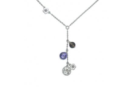 Stříbrný náhrdelník Cacharel CWC233QZ5, materiál stříbro 925/1000, kouřový křemen, váha: 6.60g