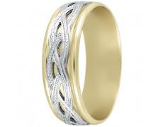 Snubní prsteny kolekce DANA1-B, materiál bílé, žluté zlato 585/1000, váha: u velikosti 54mm - 4.70g