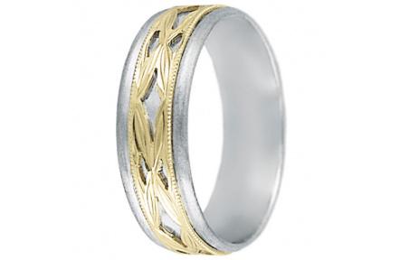 Snubní prsteny kolekce DANA1-A, materiál bílé, žluté zlato 585/1000, váha: u velikosti 54mm - 4.60g