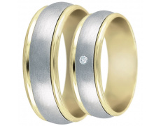 Snubní prsteny kolekce DANA1, materiál bílé, žluté zlato 585/1000, zirkon, váha: u velikosti 54mm -