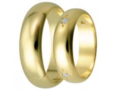 Snubní prsteny kolekce HARMONY32-33, materiál žluté zlato 585/1000, zirkon, váha: u velikosti 54mm -