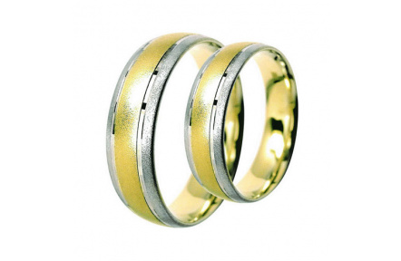 Snubní prsteny Lucie Gold Charlotte S-195, materiál bílé, žluté zlato 585/1000, váha: průměrná 9.00g