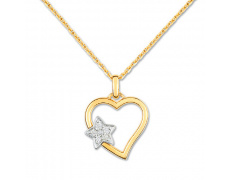 Zlatý náhrdelník Cacharel XE509XB3, materiál žluté, bílé zlato 585/1000, diamant-0.05 ct, váha: 3.60