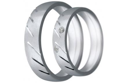 Snubní prsteny kolekce CLAUDIA10, materiál bílé zlato 585/1000, zirkon, váha: u velikosti 54mm - 7.6