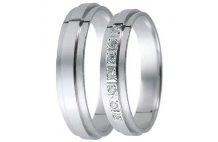 Snubní prsteny kolekce D19, materiál bílé zlato 585/1000, zirkon , váha: u velikosti 54mm - 3.00g
