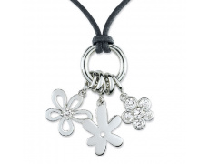Stříbrný náhrdelník Cacharel CSC077Z42, materiál stříbro 925/1000, zirkon, kůže, váha: 4.50g