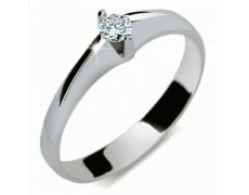 Briliantový prsten Danfil DF1956, materiál bílé zlato 585/1000, 1x briliant SI1/G = 0.114 ct, váha: