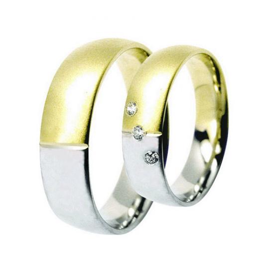 Snubní prsteny Lucie Gold Charlotte S-176, materiál bílé, žluté zlato 585/1000, zirkon, váha: průměr