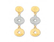 Zlaté náušnice Cacharel XG302XB3, materiál žluté a bílé zlato 585/1000, diamant-0.07 ct, váha: 4.00g