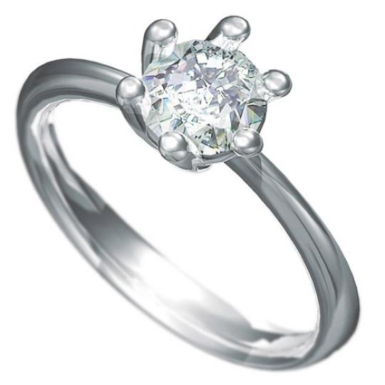 Zásnubní prsten Dianka 805, materiál bílé zlato 585/1000, zirkon 6.0mm, váha: u velikosti 54mm - 2.9