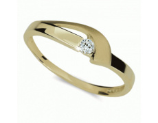 Briliantový prsten Danfil DF1779Z, materiál žluté zlato 585/1000, 1x briliant SI1/G = 0.072 ct, váha