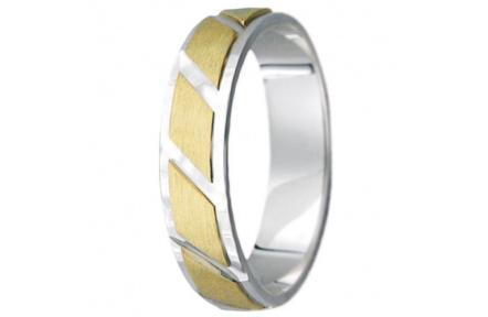 Snubní prsteny kolekce VIOLA_15, materiál žluté, bílé zlato 585/1000, váha: u velikosti 54mm - 3.60g