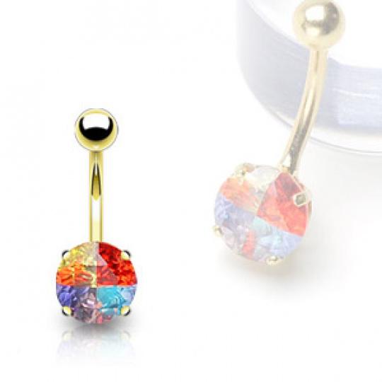 Zlatý piercing ZPP043, materiál 14-ti karátové žluté zlato, zirkon, váha: 1.55g